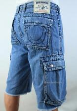TRUE RELIGION Men's BIG T CARGO CUT OFF Jeans Shorts LIGHT STONE NWT