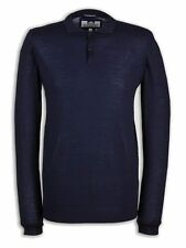 Weekend Offender | Bray Long Sleeve Polo T-Shirt | Navy | SALE