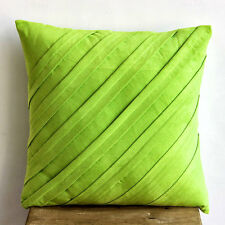 Green Textured Pintucks 40x40 cm Faux Suede Cushioncase - Contemporary Lime
