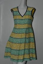 $398 NEW Nanette Lepore Deep Cove SILK LINEN Dress Fit & Flare Green Yellow 2