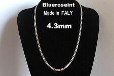 Solid 925 Sterling Silver and 18K Gold 4.3mm Curb Chain Pave ITALY - All Sizes