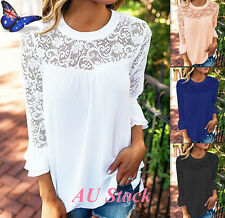 AU 6-16 Womens 3/4 Flared Sleeve Lace Chiffon Crew Neck Shirt OL Work Blouse Top