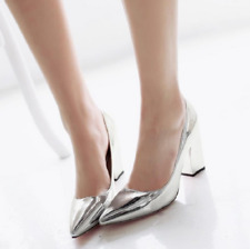 Womens Block heel Party Date Court Shoes Pointy Toe Shiny Patent Leather Pumps