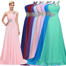 Bead ONE SHOULDER Long Prom Formal Party Ball Wedding Dress Evening Gown sEXY