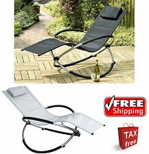Outdoor Lounge Rocking Chair Pool Patio Deck Porch Lounger Zero Gravity Relaxing