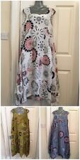New Ladies Print Italian Lagenlook Quirky Long Boho Pocket Linen Tunic Dress