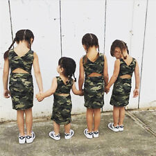 Toddler Kids Baby Girls Summer Camouflage Dress Princess Party Casual Sundress