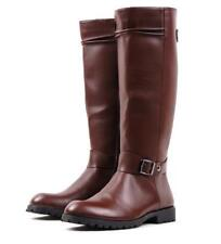 Riding Mens Military PU Leather Buckle Knee High Round Toe Equestrian Boot Shoes