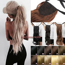 """17-27"""" Long Thick Drawstring Ponytail Clip in Hair Extension Real As Human Style"""