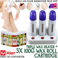 Triple Roll on Wax Heater Depilatory Hair Removal Hot Waxing Kit & 3x Cartridge