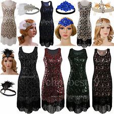 Vintage 1920s Flapper Dress Gatsby Sequins Beads Tassels Women's Party Costumes