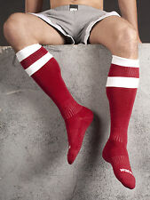 BARCODE BERLIN Socks Over the knee long Red/White Football socks
