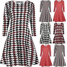 Womens Ladies Dog Tooth Printed Round Neck Long Sleeves Flared Mini Swing Dress
