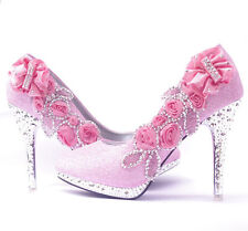 Sex Women's bling Gorgeous Wedding Bridal Evening Party Crystal High Heels Shoes