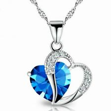 Fashion Lady Heart Shaped Necklace Women Girls Crystal Amethyst Pendant Necklace