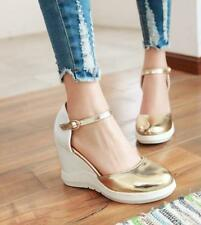 Womens Ankle Strap High Wedge Heel Round Toe Pu Leather Shoes Sandals#plus size