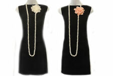 New 1920's Style Charleston Single Strand Pearlbead Necklace with Flower Corsage