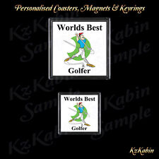 Worlds Best Golfer Drinks Coaster or Fridge Magnet Birthday Fathers Day Gift