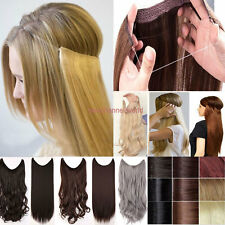 Women Long No Clip in Hair Extensions Wire Headband Ombre Hairpiece Brown Style