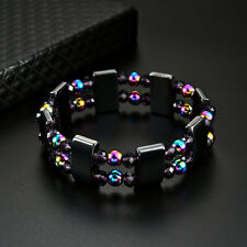 2 Layers Multi-Color Beads Magnetic Hematite Bracelet Pain Relief Jewelry Braw