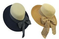 New Retro Wide Brim Raffia Stripy Bow Summer Sun Hat 1920's 30's 1940's Style