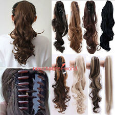 New Natural Long Straight Claw Ponytail Clip in Pony tail Hair Extension US FAST