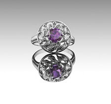 925 Sterling Silver Ring with Purple Amethyst Round Gemstone Handcrafted.