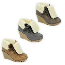 WOMENS LADIES WEDGE HEEL LACE UP FOLD OVER FUR CUFF ANKLE BOOTS SHOES SIZE 3-8