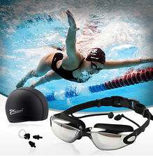 Anti Fog Adult Swimming Goggles Waterproof Swim Cap Hat Ear Plugs Nose Clip Set