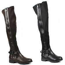 WOMENS LADIES CASUAL BLOCK HEEL OVER KNEE BUCKLE FASHION BOOTS SHOES SIZE 3-8