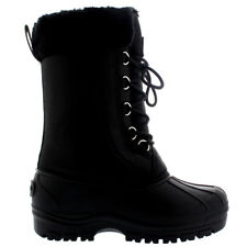 Ladies Fur Cuff Rain Lace Up Duck Snow Black Muck Winter Mid Calf Boot All Sizes