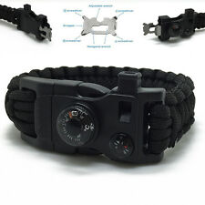Paracord Wristband Bracelet Survival Kit Braided Emergency Rope Whistle Buckle