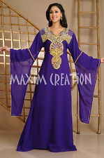 Beautiful Dubai Caftan Dress Abaya Jilbab Islamic Kheleeji Sequins Arabian 3630