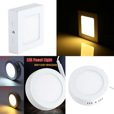 AC85-265V 6/12/18/24W Surface Mounted LED Panel Light Ceiling Wall Lamp White