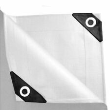 Premium 12 mil Heavy Duty Canopy Tarp WHITE 3pl Coated Tent Car Boat Cover US