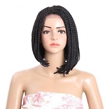 14inch Women Synthetic Lace Front Bob Wig African Black Braided Box Braids Wigs