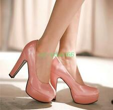 Womens Round Toe Slip On Shiny Patent Leather Chunky heel Dress Pumps Colour