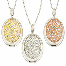 14K Gold, Rose Gold, or Rhodium Plated Silver Star Crystal Oval Pendant Necklace