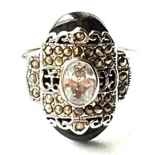 (SIZE 6,8,9) ONYX & CZ RING w/ Marcasite Studded Overlay .925 STERLING SILVER
