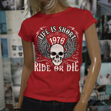 LIFE IS SHORT RIDE OR DIE BIKER HARLEY DAVIDSON Womens Red T-Shirt
