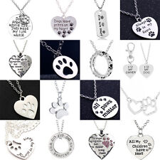 Dog Tag Necklace Paws Print Love Heart Pendants Pet Lover Charms Chain Jewelry