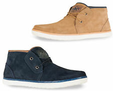 Mens Real Leather Suede Desert Boots Casual Ankle Shoes Blue & Tan