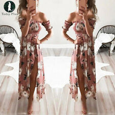 Women Maxi Boho Dress Floral Summer Beach Cocktail Evening Party Long Sundress
