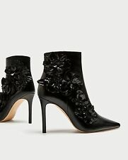 ZARA NEW HIGH HEEL ANKLE BOOTS WITH FLORAL TRIMS BLACK 6076/201