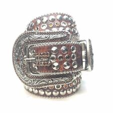 "B.B. Simon ""Chocolate Leather"" Swarovski Crystal Belt"