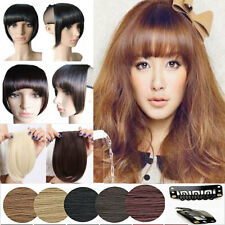 """8"""" Long Straight Bang Clip in on Fringe Hair Extensions Real as human hairpiece"""