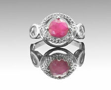 925 Sterling Silver Ring with Red Ruby Round Cut Natural Gemstone Handmade.