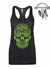 Rose Sugar Skull Burnout Tank - Sugar Skull Top - Black and Green