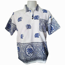 Men's Elephant Print T-Shirt 100% Cotton Blue Thai Hippie Yoga Top Summer Shirt
