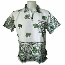 Mens Elephant Print T-Shirt 100% Cotton Green Thai Hippie Yoga Top Summer Shirt